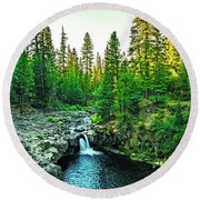 Morning At The Falls Round Beach Towel by Nancy Marie Ricketts