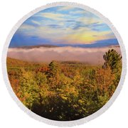 Morning Autumn Landscape Northern New Hampshire Round Beach Towel