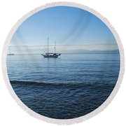 Morning Clouds Round Beach Towel by George Katechis