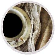 Morning Coffee Round Beach Towel by Bonnie Bruno