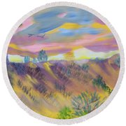 Morning Glory Round Beach Towel by Meryl Goudey