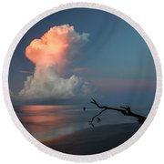 Round Beach Towel featuring the photograph Morning Glow by Ronald Santini