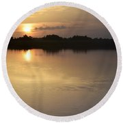Round Beach Towel featuring the photograph Morning Reflections by John Glass