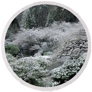Morning Snow In The Garden Round Beach Towel