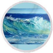 Round Beach Towel featuring the painting Morning Surf by Fred Wilson