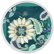 Round Beach Towel featuring the painting Moroccan Paisley Peacock Blue 1 by Audrey Jeanne Roberts