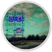 Motel Round Beach Towel by Jerry Golab