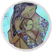 Motherhood Flowers All Over Round Beach Towel