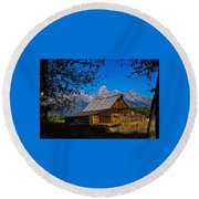 Round Beach Towel featuring the photograph Moulton Barn by Norman Hall