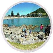 Mount Maunganui Beach 12 - Tauranga New Zealand Round Beach Towel