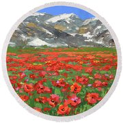 Mountain Poppies  Round Beach Towel