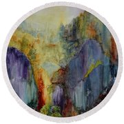 Round Beach Towel featuring the painting Mountain Scene by Karen Fleschler