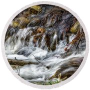 Mountain Stream Round Beach Towel by Elaine Malott