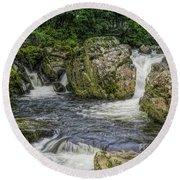 Mountain Waterfall Round Beach Towel by Ian Mitchell