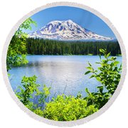 Mt. Adams And Takhlakh Lake Round Beach Towel by Ansel Price