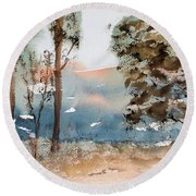 Mt Field Gum Tree Silhouettes Against Salmon Coloured Mountains Round Beach Towel