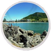 Mt Maunganui Beach 11 - Tauranga New Zealand Round Beach Towel