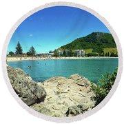 Mt Maunganui Beach 13 - Tauranga New Zealand Round Beach Towel