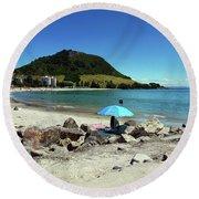 Mt Maunganui Beach 5 - Tauranga New Zealand Round Beach Towel
