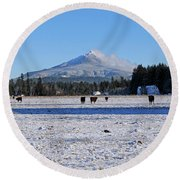 Mt. Pilchuck Round Beach Towel by Rebecca Parker