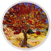 Round Beach Towel featuring the painting Mulberry Tree by Van Gogh
