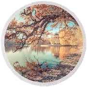 Round Beach Towel featuring the photograph Munich At Fall by Hannes Cmarits
