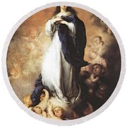 Murillo Immaculate Conception  Round Beach Towel