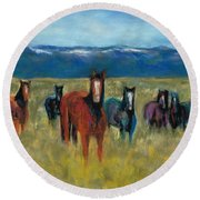 Mustangs In Southern Colorado Round Beach Towel
