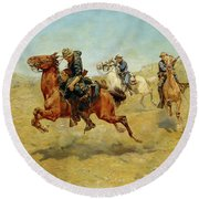 Round Beach Towel featuring the painting My Bunkie by Charles Schreyvogel