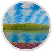 My Serenity Lies In A Place Between Heaven And Earth Round Beach Towel