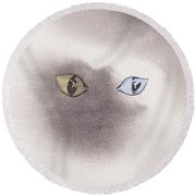 Round Beach Towel featuring the painting Mysty Cat by Marc Philippe Joly