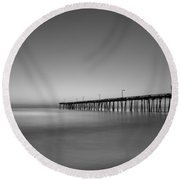 Nags Head Fishing Pier Sunrise Round Beach Towel by Michael Ver Sprill