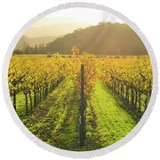 Napa Valley California Vineyard In The Fall Round Beach Towel