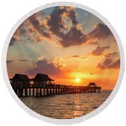 Round Beach Towel featuring the photograph Naples Pier At Sunset by Brian Jannsen