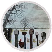 Round Beach Towel featuring the painting Neighbors Meeting Place by Jack G Brauer