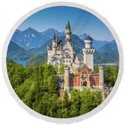 Neuschwanstein Castle Round Beach Towel