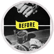 Round Beach Towel featuring the digital art Never Give A Germ A Break by War Is Hell Store