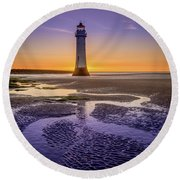 New Brighton Lighthouse Round Beach Towel