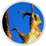 New Orleans Bird Tree Sculpture In Louisiana Round Beach Towel by Michael Hoard