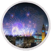 New Year Fireworks Round Beach Towel