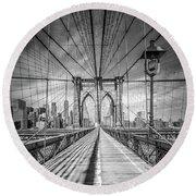 Round Beach Towel featuring the photograph New York City Brooklyn Bridge - Monochrome by Melanie Viola