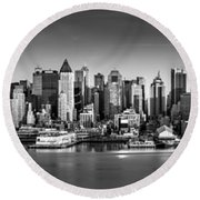 New York City Panorama Round Beach Towel