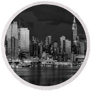 Round Beach Towel featuring the photograph New York City Skyline Pride Bw by Susan Candelario