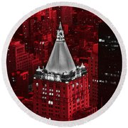 New York Life Building Round Beach Towel