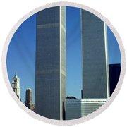 New York World Trade Center Before 911 Photo Round Beach Towel