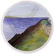 Round Beach Towel featuring the painting New Zealand Lighthouse by Kevin Daly