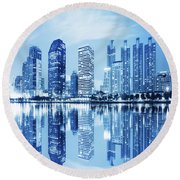 Night Scenes Of City Round Beach Towel by Setsiri Silapasuwanchai