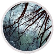 Round Beach Towel featuring the photograph Night Sky In The Woods by Marianna Mills