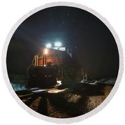 Round Beach Towel featuring the photograph Night Train by Aaron J Groen
