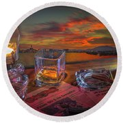 Night Work Round Beach Towel